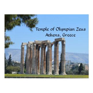 Postal Templo de Zeus olímpico, Atenas, Grecia