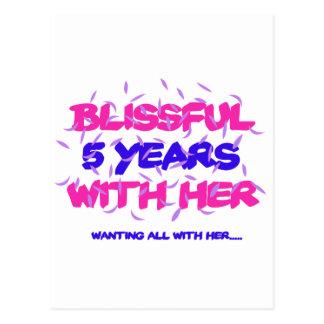 Postal Tender los 5tos diseños del aniversario de la boda