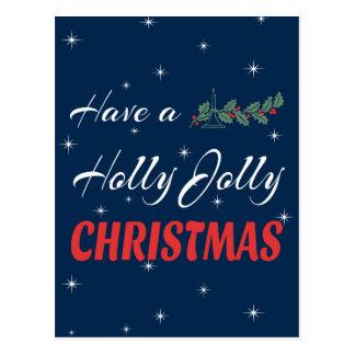 Postal Tenga navidad alegre de un acebo