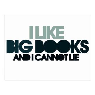 Postal Tengo gusto de los libros grandes