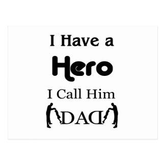 Postal Tengo un héroe que lo llamo papá
