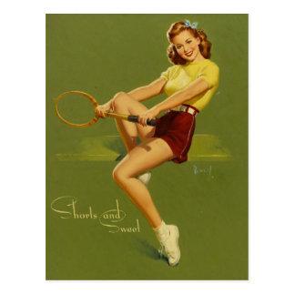 Postal Tenis PinUp Girl