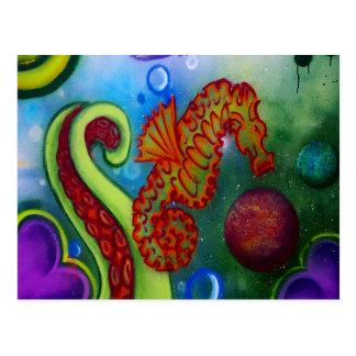 Postal tentáculo del seahorse y del pulpo