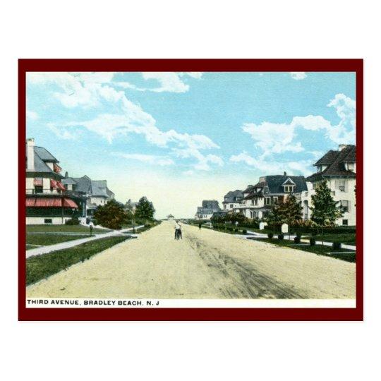 Postal Tercera avenida, playa de Bradley, vintage de NJ