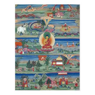 Postal Thanka pintado Bhutanese de los cuentos de Jataka