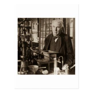 Postal Thomas Edison en su laboratorio Stereoview