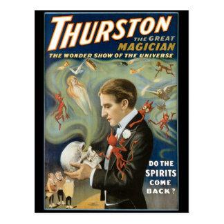 Postal Thurston el acto mágico del gran del mago vintage
