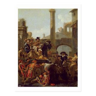 Postal Tiempo del carnaval en Roma, 1653 (aceite en lona)