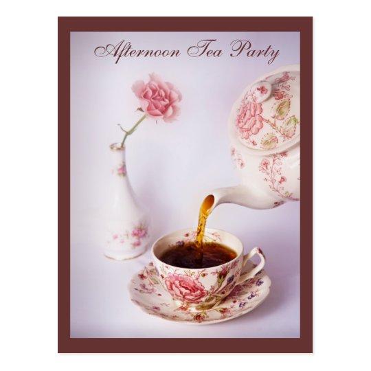 Postal Tiempo del té, fiesta del té de la tarde