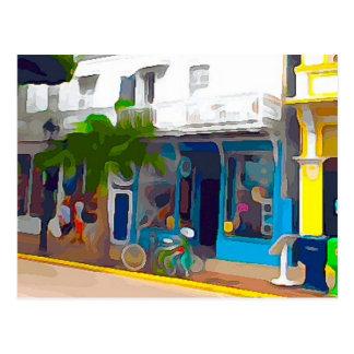 Postal Tiendas coloridas en Key West