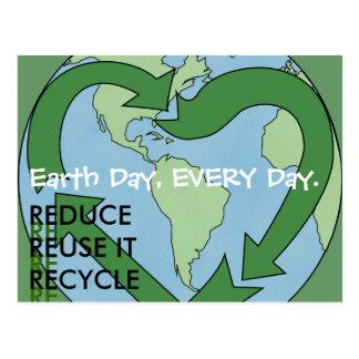Postal Tierra del amor - reduzca la reutilización