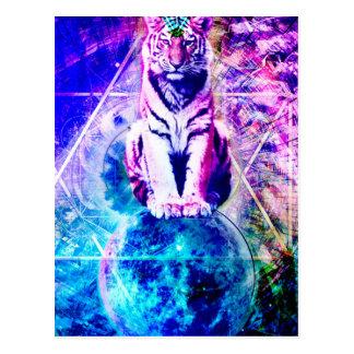 Postal Tigre de la galaxia - tigre rosado - 3d tigre -