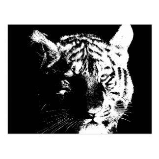Postal Tigre negro y blanco del arte pop