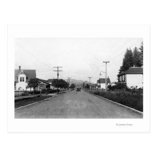 Postal Tillamook, escena residencial de la calle de