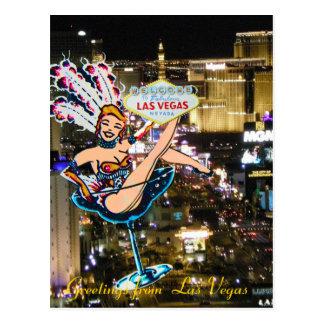 Postal Tira, corista, y signo positivo de Las Vegas