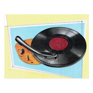 Postal Tocadiscos retro del fonógrafo del kitsch del