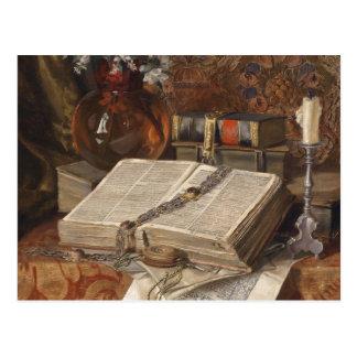 Postal Todavía vida con los folios y las flores de cerezo