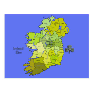 Postal Todo el mapa irlandés de Irlanda