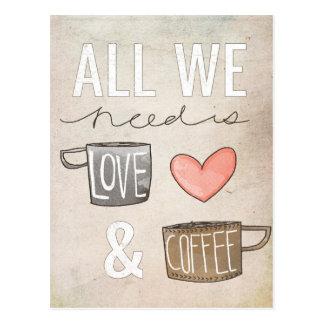 Postal Todo lo que necesitamos es amor y café