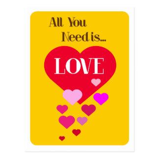 Postal Todo lo que usted necesita es amor