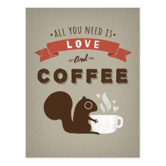 Postal Todo lo que usted necesita es amor y café -