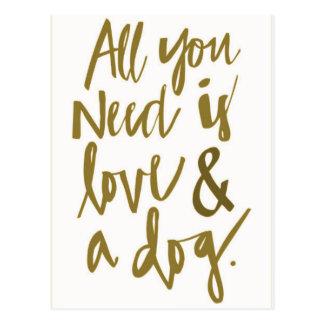 Postal Todo lo que usted necesita es amor y un happi