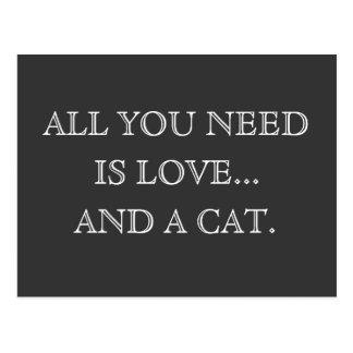 Postal Todo lo que usted necesita es amor… y un perro -