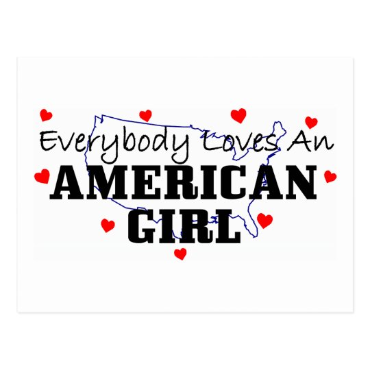Postal Todos ama a un chica americano