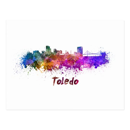 Postal Toledo OH skyline in watercolor