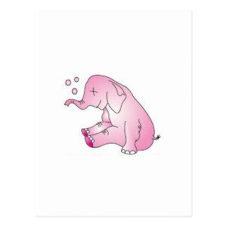 Postal Tome a cuidado el elefante rosado