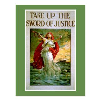 Postal Tome la espada de la justicia