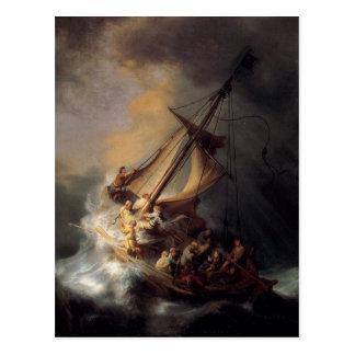Postal -Tormenta-en--Mar-de-Galilea-por-Rembrandt