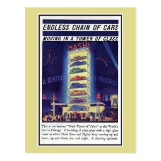 Postal Torre 1933 del coche de Nash de la expo de Chicago