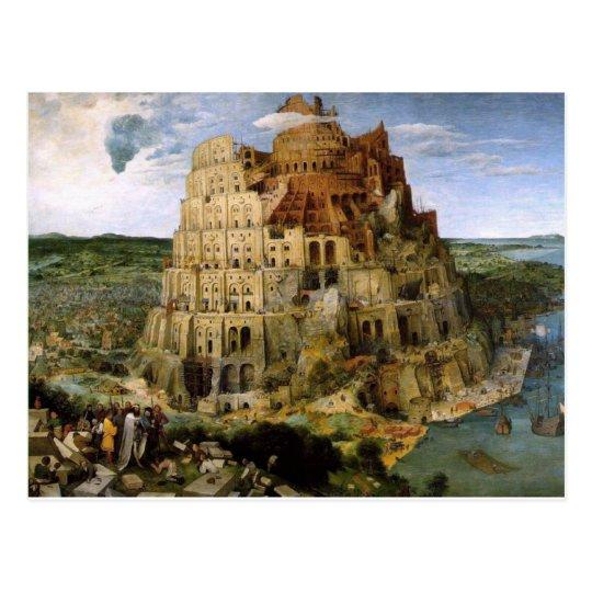 Postal Torre de Babel por Brueghel