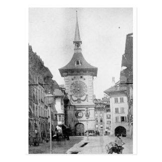 Postal Torre de reloj, Berna, Suiza CA 1890