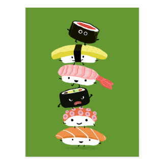 Postal Torre del sushi - pila feliz de amigos del sushi