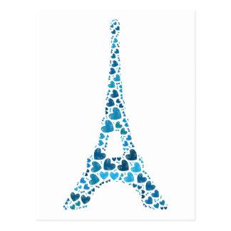 Postal Torre Eiffel azul con moda lamentable de los