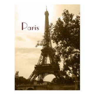 Postal Torre Eiffel de la sepia--París