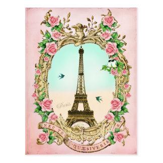 Postal Torre Eiffel del vintage con los rosas rosados