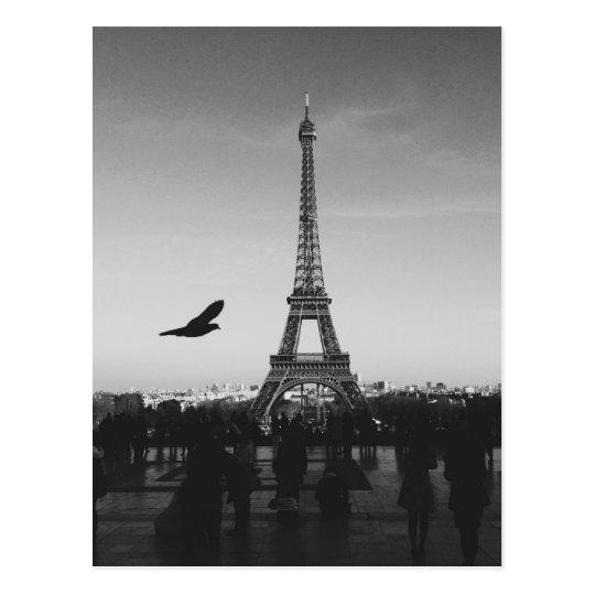 Postal Torre Eiffel en blanco y negro