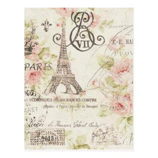 Postal torre Eiffel floral romántica elegante femenina de