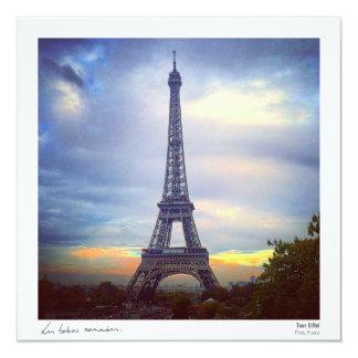 Postal - Torre Eiffel Invitación 13,3 Cm X 13,3cm