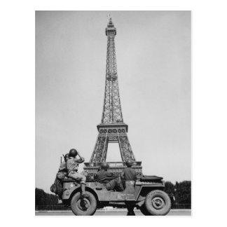 Postal Torre Eiffel París Francia WW2