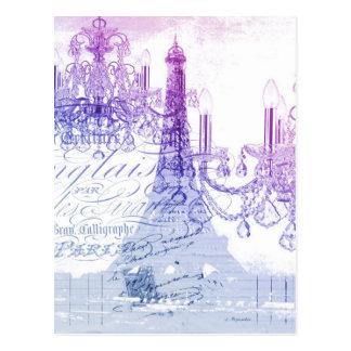 Postal torre Eiffel púrpura francesa elegante de París de