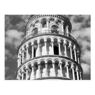 Postal Torre inclinada blanca negra de Pisa Italia