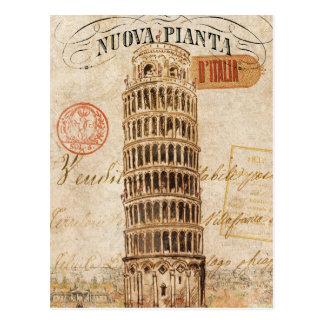Postal Torre inclinada del vintage de Pisa