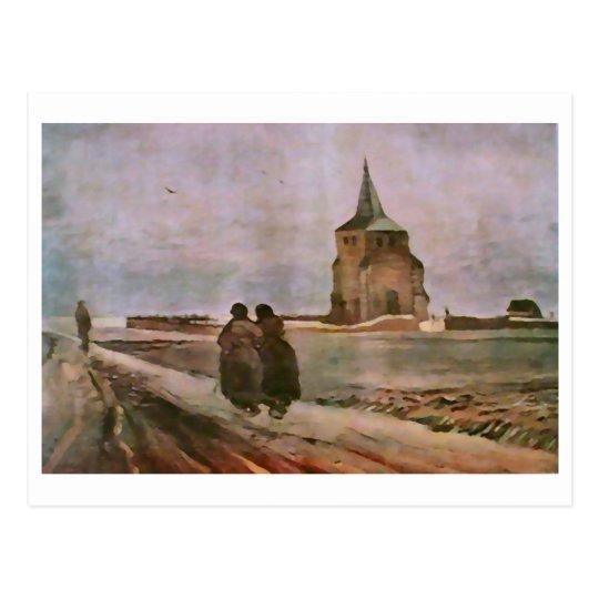 Postal Torre vieja de Nuenen, bella arte de Van Gogh