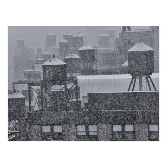 Postal Torres de agua de NYC durante tormenta anormal de