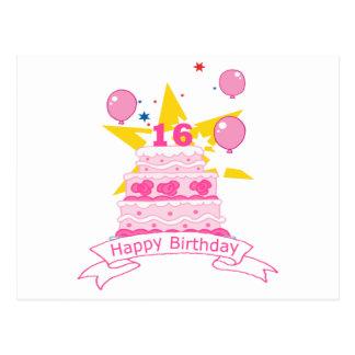 Postal Torta de cumpleaños de 16 años