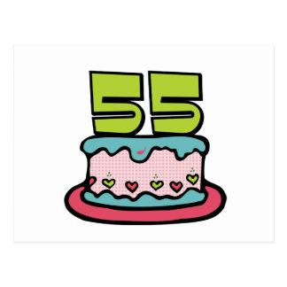 Postal Torta de cumpleaños de 55 años